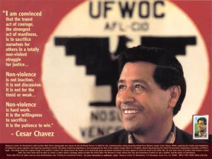 Cesar Chavez poster, photo by Bob Fitch