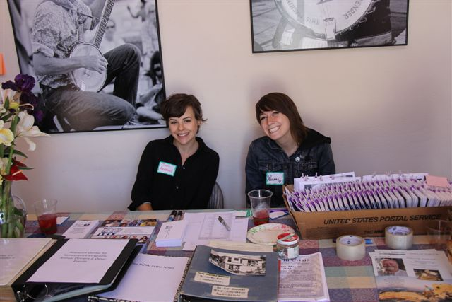 <b>Question Authority</b> -Interns Jane Andrews and Laura Boden hard at work Hall Dedication May 2014